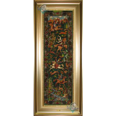 تابلویی فرش دستباف تمام ابریشم قم شکارگاه ستونی بیطرفان