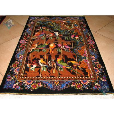 Mat Qom Carpet Handmade Forty parrots Design All Silk