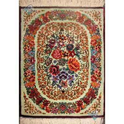 Pair Mat Qom Carpet Handmade Rose Design