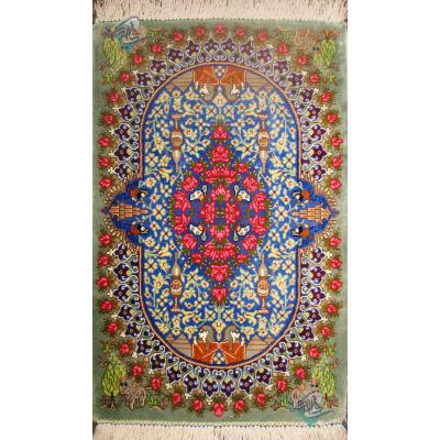 Pair Mat Qom Carpet Handmade Antique Design