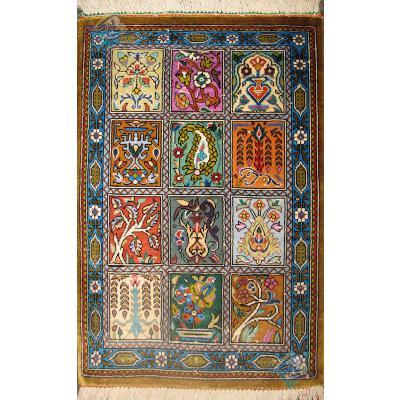 Pair Mat Qom Carpet Handmade Brick Design