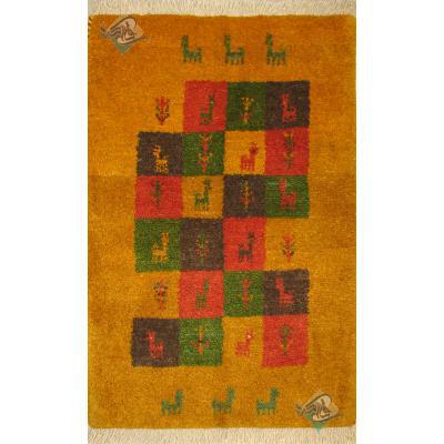 پادری دستباف گبه طرح شطرنجی رنگ گیاهی تمام پشم
