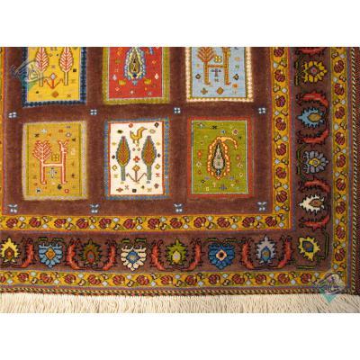 ذرع و چهارک سوزنی فرش سیرجان برجسته باف تمام پشم رنگ گیاهی