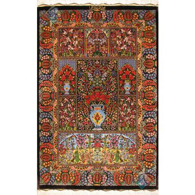 ذرع و چهارک دستباف تمام ابریشم قم تولیدی درویش طرح خشت و کتیبه هشتاد رج