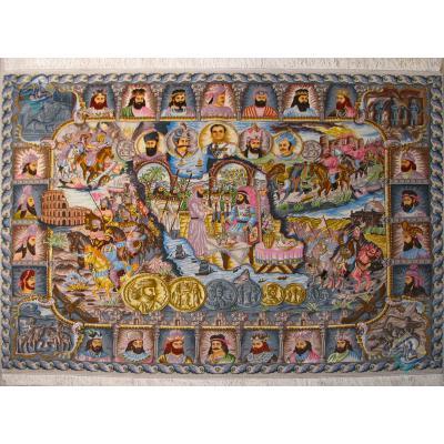 Tableau Carpet Handwoven Tabriz Kings of Iran Design