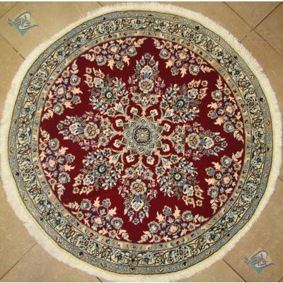 دایره قطر یک متر دستباف نایین نه لا گل ابریشم
