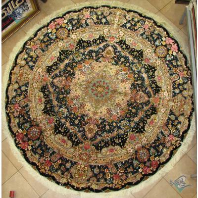 Round Carpet Handmade Tabriz Salari Design