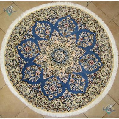 دایره قطر یک متر و نیم فرش دستباف نایین گل ابریشم