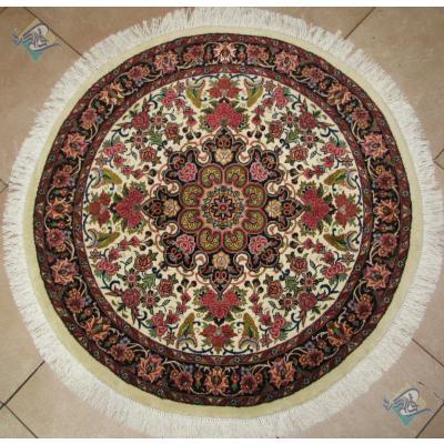 دایره دستباف بیجار قطر یک متر طرح شمس گل ابریشم