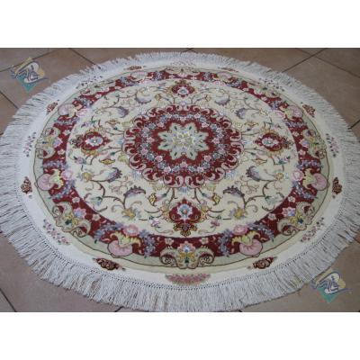 Circle Tabriz Handwoven Carpet Oliya Design