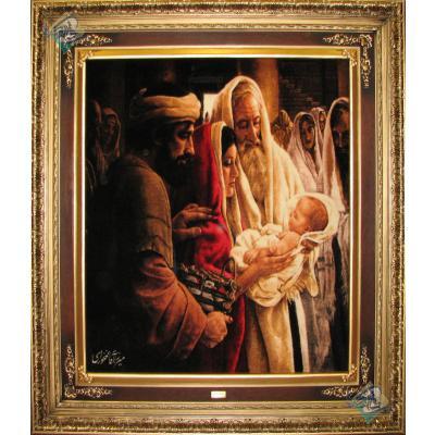 تابلو فرش تبریز طرح تولد مسیح