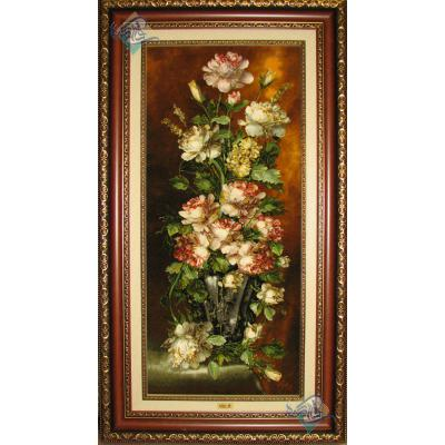 تابلو فرش تبریز طرح گلدان گل ستونی