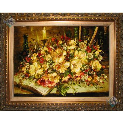 تابلو فرش تبریز طرح گلدان گل