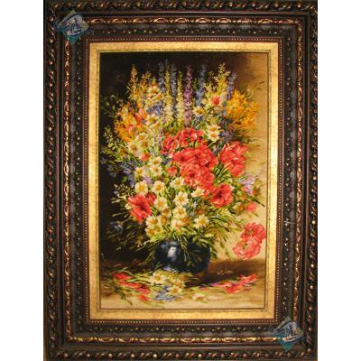 تابلو فرش دستباف تبریز طرح گلدان گل چله و گل ابریشم