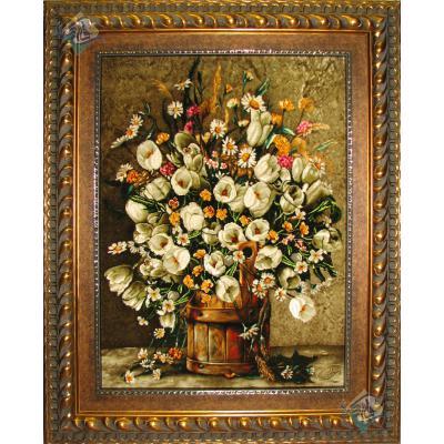 Tabriz Tableau Carpet Flower Bucket