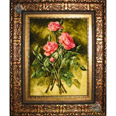 تابلو فرش تبریز طرح سه شاخه گل چله و گل ابریشم برجسته باف