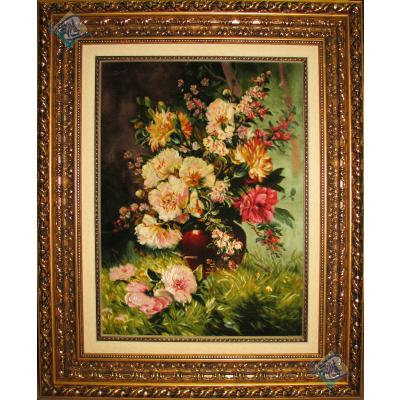 تابلو فرش تبریز طرح گلدان گل تولیدی مودت