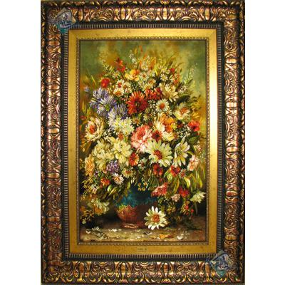 تابلو فرش تبریز طرح گلدان سفالی چله و گل ابریشم
