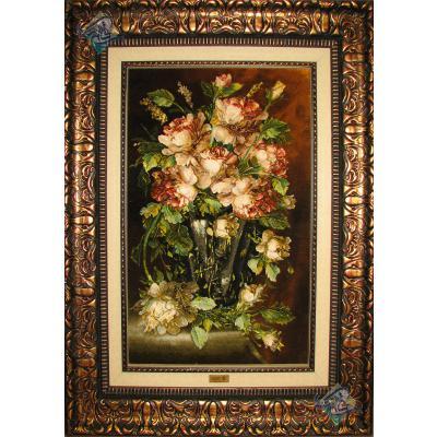 تابلو فرش تبریز طرح گلدان گل آنتیک چله و گل ابریشم