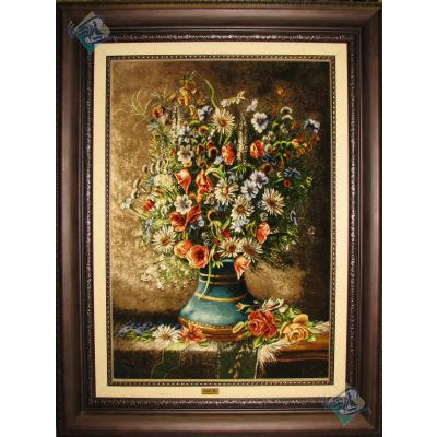Tableau Carpet Handwoven Tabriz Flowers Tray Design