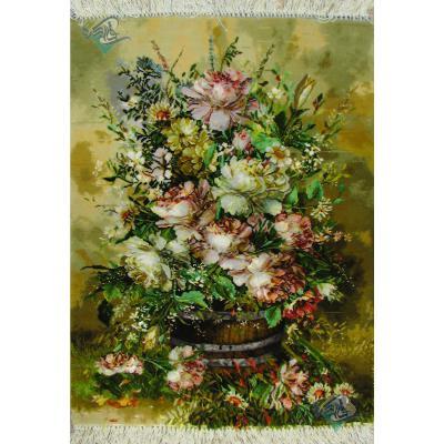 Tableau Carpet Handwoven Tabriz Buckets of flowers Design