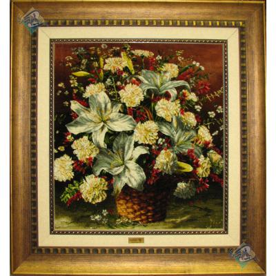 تابلو فرش تبریز سبد گل برجسته باف چله و گل ابریشم