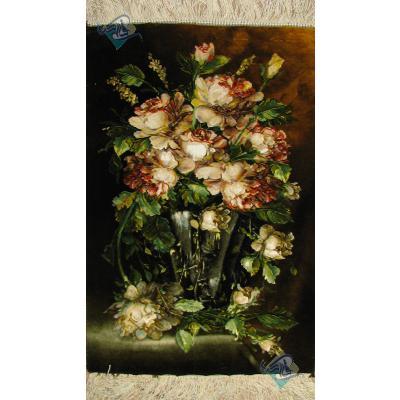 تابلو فرش تبریز طرح گل آنتیک چله و گل ابریشم