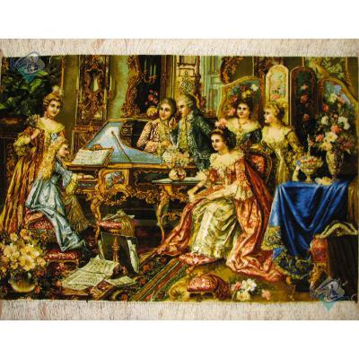 تابلو فرش دستباف تبریز طرح پیانو نواز تولیدی عبدالسلام چله و گل ابریشم