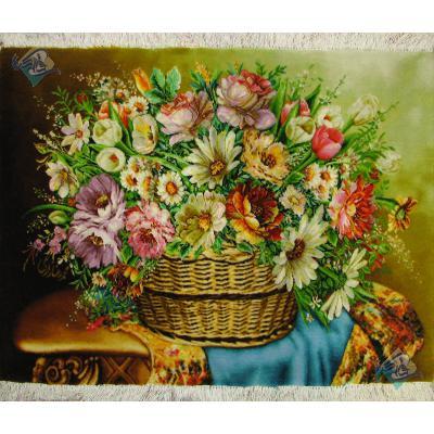 تابلو فرش دستباف تبریز طرح سبد گل برجسته باف و چله و گل ابریشم