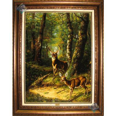 Tabriz Tableau Carpet  Handwoven  The Forest and Deer Design