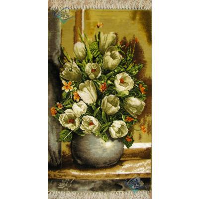 تابلو فرش تبریز طرح گلدان گل کریم نژاد چله و گل ابریشم بدون قاب