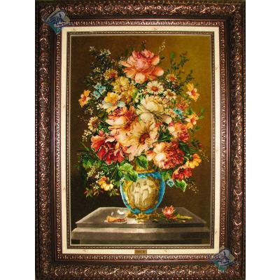 تابلو فرش تبریز طرح گلدان گل کورش و ماندانا چله و گل ابریشم
