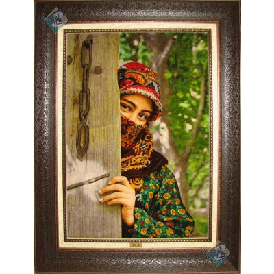تابلو فرش دستباف تبریز طرح دختر عشایری چله و گل ابریشم