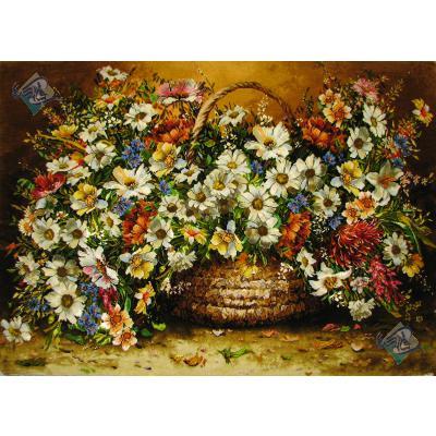 تابلو فرش تبریز طرح سبد گل بزرگ بابونه چله و گل ابریشم