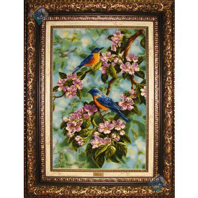 تابلو فرش دستباف تبریز طرح دو پرنده برجسته باف چله و گل ابریشم