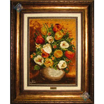 Tableau Carpet Handwoven Tabriz Flower Pots Design