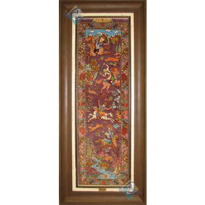 تابلو فرش دستباف تمام ابریشم قم طرح شکارگاه ستونی