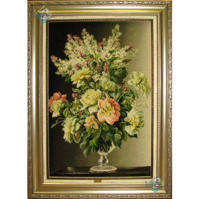 تابلو فرش دستباف تبریز گلدان شیشه ای چله و گل ابریشم