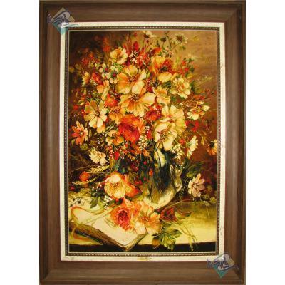 تابلو فرش دستباف تبریز طرح گلدان و کتاب چله و گل ابریشم