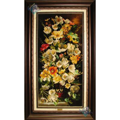 تابلو فرش دستباف تبریز گلدان گل لاله سفیدچله و گل ابریشم