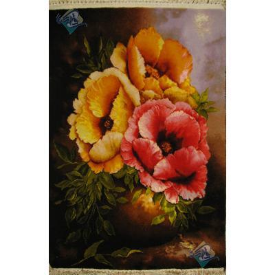 تابلو فرش دستباف تبریز گلدان گل درشت چله و گل ابریشم