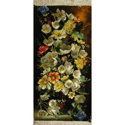 Tableau Carpet Handwoven Tabriz Flower Pot Design