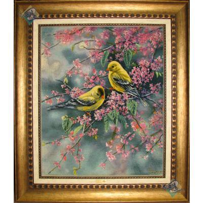 Tableau Carpet Handwoven Tabriz Two Birds Design