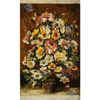 تابلو فرش دستباف تبریز گلدان گل لیوانی چله و گل ابریشم