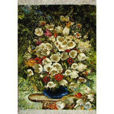 تابلو فرش دستباف تبریز گلدان گل آبی چله و گل ابریشم