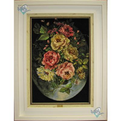 تابلو فرش دستباف تبریز گل و ماه چله و گل ابریشم