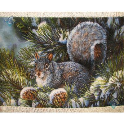 Tableau Carpet Handwoven Tabriz Squirrel Design