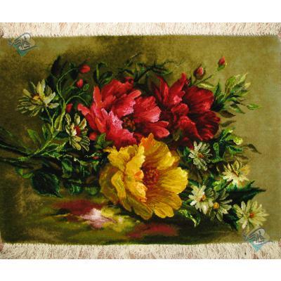Tableau Carpet Handwoven Tabriz Flower Design