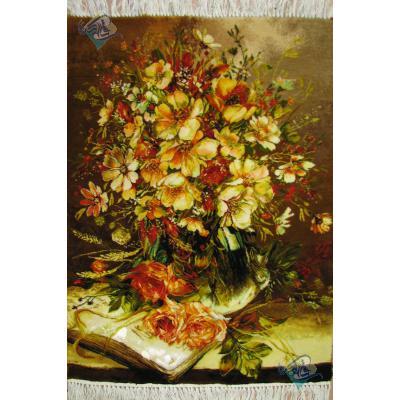 تابلو فرش دستباف تبریز گلدان و کتاب گل ابریشم