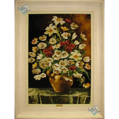 تابلو فرش دستباف تبریز گلدان سفالی چله و گل ابریشم